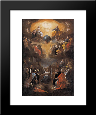 Adoration Of The Holy Trinity: Modern Black Framed Art Print by Heinrich Schonfeld