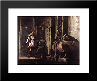 Alexander The Great Before The Tomb Of Achilles: Modern Black Framed Art Print by Heinrich Schonfeld