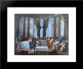 The Marriage In Cana: Modern Black Framed Art Print by Heinrich Schonfeld