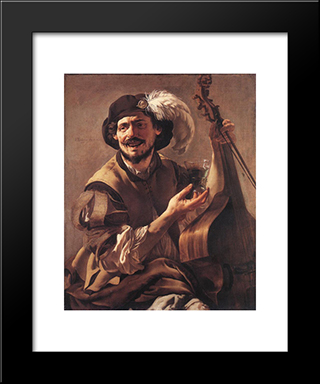 A Laughing Bravo With A Bass Viol And A Glass: Modern Black Framed Art Print by Hendrick Terbrugghen