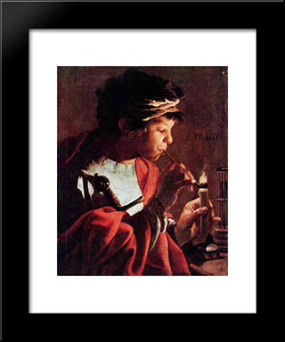 Boy Lighting A Pipe: Modern Black Framed Art Print by Hendrick Terbrugghen