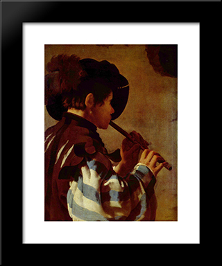 Boy Playing A Fife: Modern Black Framed Art Print by Hendrick Terbrugghen