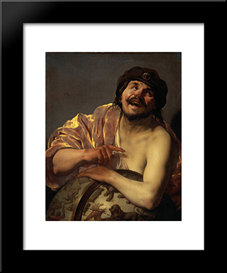 Democritus: Modern Black Framed Art Print by Hendrick Terbrugghen