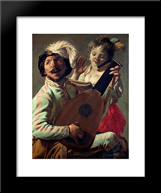 Duet: Modern Black Framed Art Print by Hendrick Terbrugghen