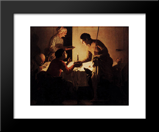 Esau Selling His Birthright: Modern Black Framed Art Print by Hendrick Terbrugghen