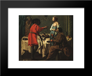 Jacob Reproaching Laban: Modern Black Framed Art Print by Hendrick Terbrugghen