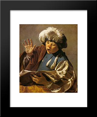Singing Boy: Modern Black Framed Art Print by Hendrick Terbrugghen
