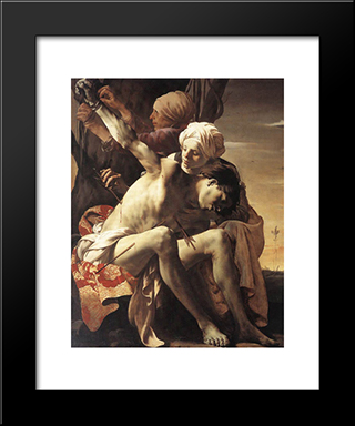 St. Sebastian Tended By Irene And Her Maid: Modern Black Framed Art Print by Hendrick Terbrugghen