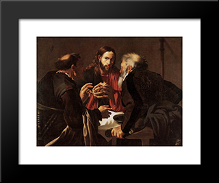 Supper At Emmaus: Modern Black Framed Art Print by Hendrick Terbrugghen