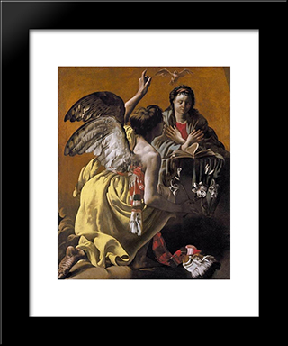 The Annunciation: Modern Black Framed Art Print by Hendrick Terbrugghen