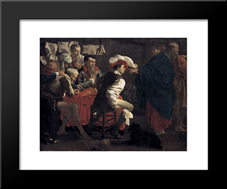 The Calling Of St. Matthew: Modern Black Framed Art Print by Hendrick Terbrugghen