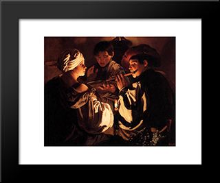 The Concert: Modern Black Framed Art Print by Hendrick Terbrugghen