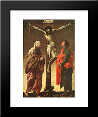 The Crucifixion With The Virgin And St. John: Modern Black Framed Art Print by Hendrick Terbrugghen