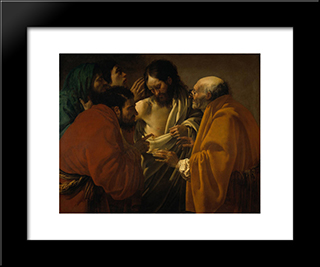 The Incredulity Of St. Thomas: Modern Black Framed Art Print by Hendrick Terbrugghen
