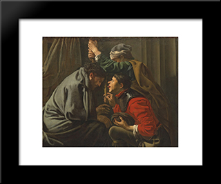 The Mocking Of Christ: Modern Black Framed Art Print by Hendrick Terbrugghen
