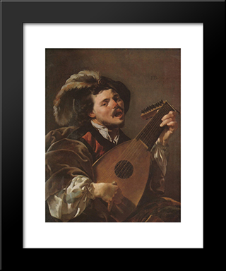 The Singing Lute Player: Modern Black Framed Art Print by Hendrick Terbrugghen