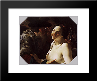 Unequal Couple: Modern Black Framed Art Print by Hendrick Terbrugghen