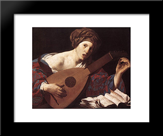 Woman Playing The Lute: Modern Black Framed Art Print by Hendrick Terbrugghen