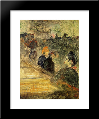A Ball At The Moulin De La Galette: Modern Black Framed Art Print by Henri de Toulouse Lautrec