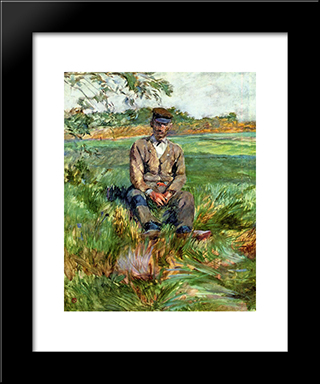 A Laborer At Celeyran: Modern Black Framed Art Print by Henri de Toulouse Lautrec