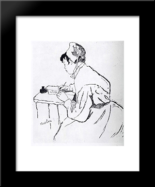 A Saint Lazare, Song Title: Modern Black Framed Art Print by Henri de Toulouse Lautrec