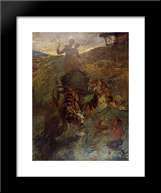 Allegory Springtime Of Life: Modern Black Framed Art Print by Henri de Toulouse Lautrec