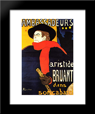 Ambassadeurs Aristide Bruant In His Cabaret: Modern Black Framed Art Print by Henri de Toulouse Lautrec