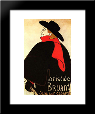 Aristide Bruant In His Cabaret: Modern Black Framed Art Print by Henri de Toulouse Lautrec