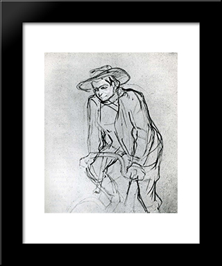 Aristide Bruant On His Bicycle: Modern Black Framed Art Print by Henri de Toulouse Lautrec