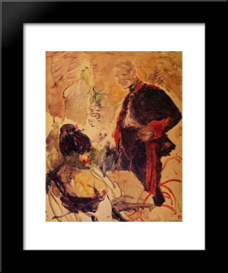 Artillerman And Girl: Modern Black Framed Art Print by Henri de Toulouse Lautrec
