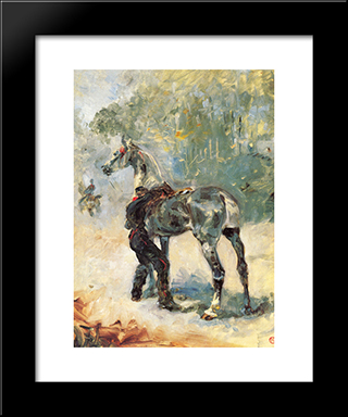 Artilleryman Saddling His Horse: Modern Black Framed Art Print by Henri de Toulouse Lautrec