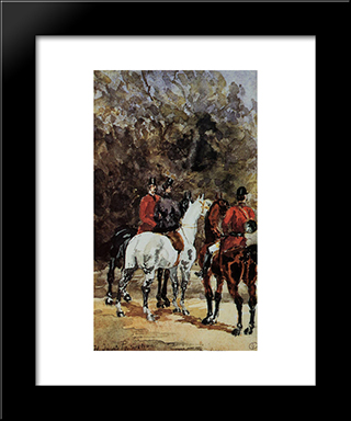 Assembly Of Hunters: Modern Black Framed Art Print by Henri de Toulouse Lautrec