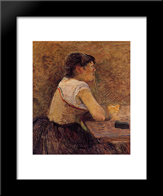 At Gennelle, Absinthe Drinker: Modern Black Framed Art Print by Henri de Toulouse Lautrec