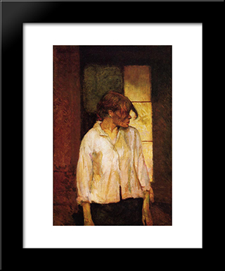 At Montrouge ( Rosa La Rouge): Modern Black Framed Art Print by Henri de Toulouse Lautrec