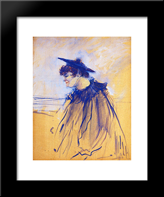 At Star , Le Havre (Miss Dolly, English Singer): Modern Black Framed Art Print by Henri de Toulouse Lautrec