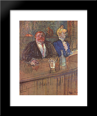 At The Cafe The Customer And The Anemic Cashier: Modern Black Framed Art Print by Henri de Toulouse Lautrec