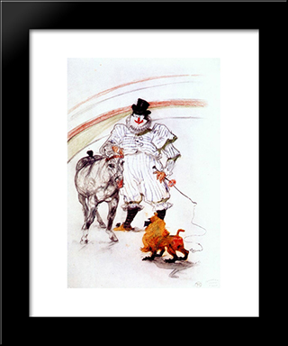 At The Circus, Horse And Monkey Dressage: Modern Black Framed Art Print by Henri de Toulouse Lautrec