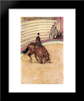 At The Circus Dressage: Modern Black Framed Art Print by Henri de Toulouse Lautrec