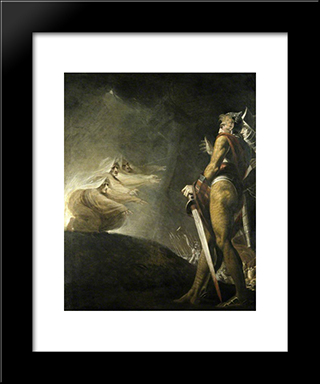 Macbeth, Banquo And The Witches: Modern Black Framed Art Print by Henry Fuseli