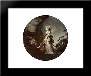 Mamillius Conjuring Up Sprites And Goblins For His Mother, Hermione: Modern Black Framed Art Print by Henry Fuseli