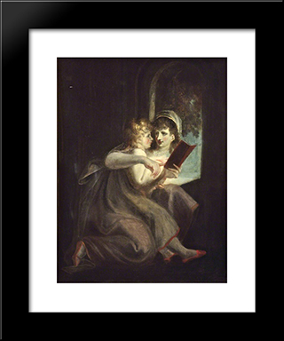 Milton When A Boy Instructed By His Mother: Modern Black Framed Art Print by Henry Fuseli