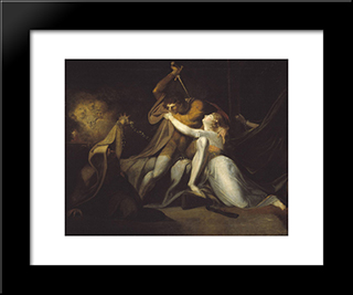 Percival Delivering Belisane From The Enchantment Of Urma: Modern Black Framed Art Print by Henry Fuseli