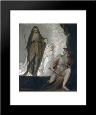 Teiresias Foretells The Future To Odysseus: Modern Black Framed Art Print by Henry Fuseli