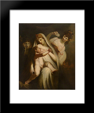 The Infant Shakespeare Between Tragedy And Comedy: Modern Black Framed Art Print by Henry Fuseli