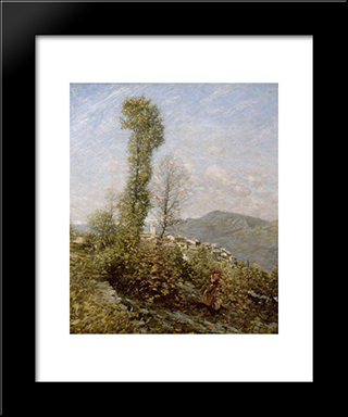 A Hillside Village In Provence, France: Modern Black Framed Art Print by Henry Herbert La Thangue