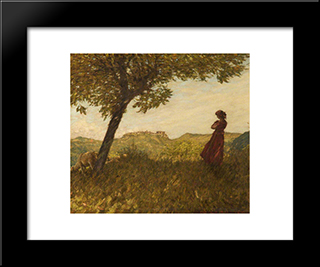 A Ligurian Shepherdess: Modern Black Framed Art Print by Henry Herbert La Thangue