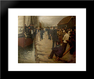 A Mission To Seamen: Modern Black Framed Art Print by Henry Herbert La Thangue