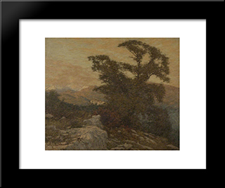 A Mountain Frontier: Modern Black Framed Art Print by Henry Herbert La Thangue