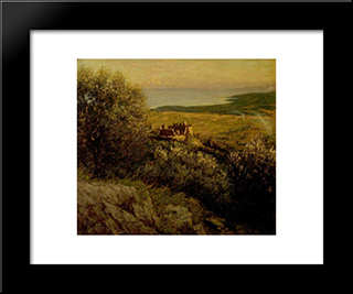 A Provencal Castle: Modern Black Framed Art Print by Henry Herbert La Thangue