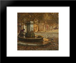 A Provencal Fountain: Modern Black Framed Art Print by Henry Herbert La Thangue